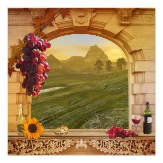 Pintura romántica del vintage del viñedo (boda) fotografías
