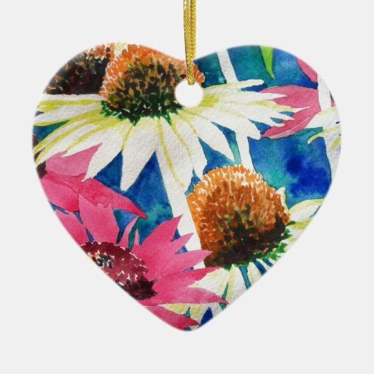 Pintura rosada de la acuarela de la flor del cono adorno navideño de cerámica en forma de corazón