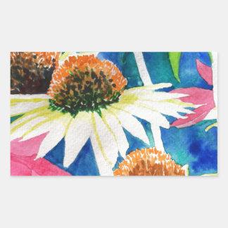 Pintura rosada de la acuarela de la flor del cono pegatina rectangular