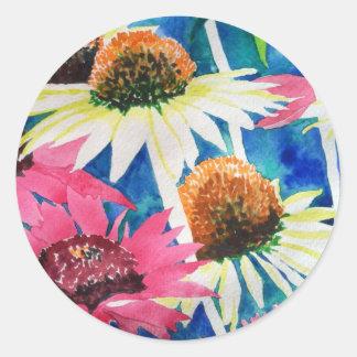 Pintura rosada de la acuarela de la flor del cono pegatina redonda