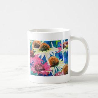 Pintura rosada de la acuarela de la flor del cono taza de café