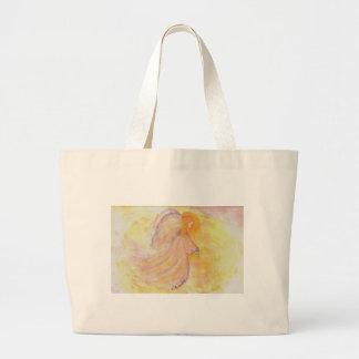 Pintura rosada de la acuarela del ángel bolsas lienzo