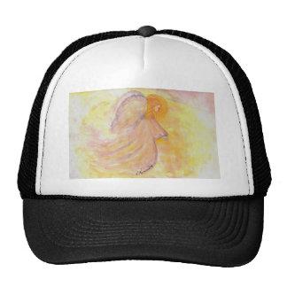 Pintura rosada de la acuarela del ángel gorras