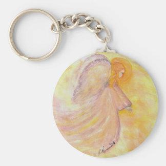 Pintura rosada de la acuarela del ángel llaveros personalizados