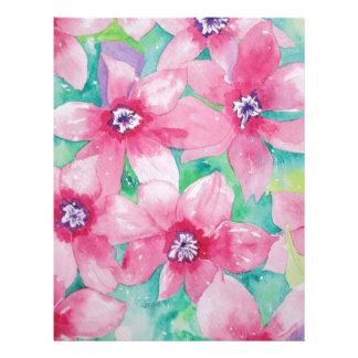 Pintura rosada de la acuarela del Clematis Plantillas De Membrete