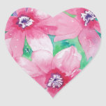 Pintura rosada de la acuarela del Clematis Pegatinas De Corazon Personalizadas
