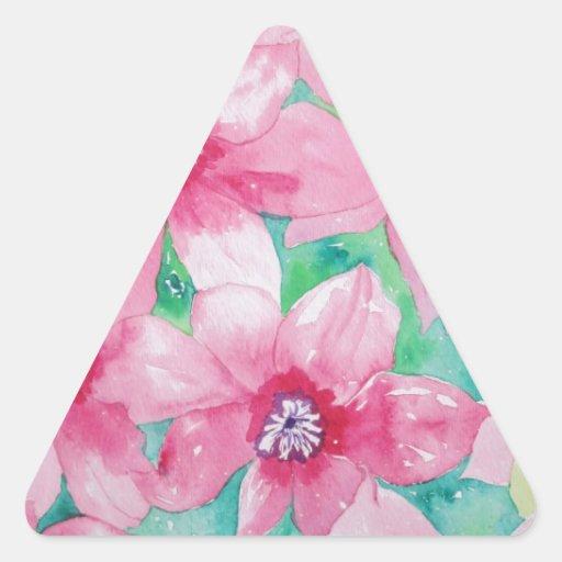 Pintura rosada de la acuarela del Clematis Calcomania Triangulo Personalizadas