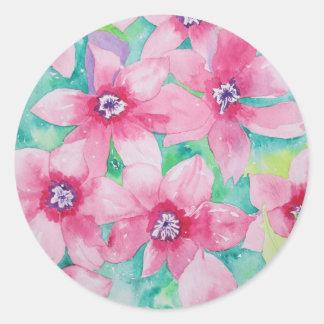 Pintura rosada de la acuarela del Clematis Pegatina Redonda