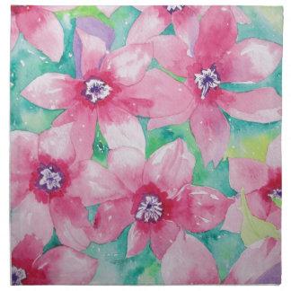 Pintura rosada de la acuarela del Clematis Servilleta Imprimida