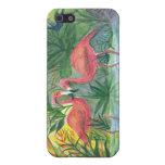 Pintura rosada de la acuarela del flamenco iPhone 5 protectores