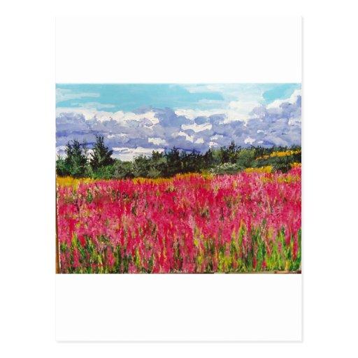 Pintura rosada de la alfombra tarjeta postal