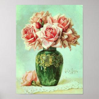 Pintura rosada de la flor de la bella arte de los  poster