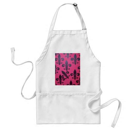 Pintura rosada de la flor de lis delantales