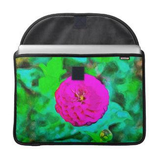 Pintura rosada de la flor fundas para macbook pro