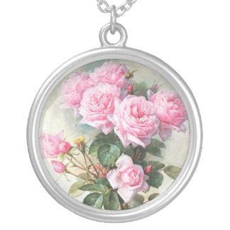 Pintura rosada de los rosas del vintage colgante redondo