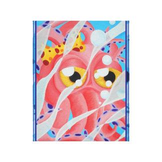 Pintura rosada del pulpo del dibujo animado impresión en lona estirada