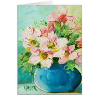 Pintura rosada del ramillete tarjeta de felicitación