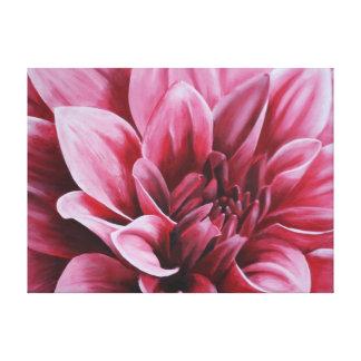Pintura rosada roja de la flor de la dalia lona envuelta para galerías