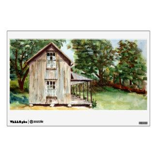 Pintura rústica de la acuarela de la granja vieja