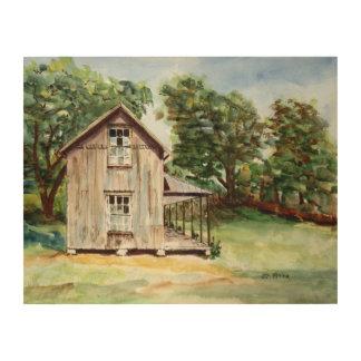 Pintura rústica de la acuarela de la granja vieja cuadro de madera