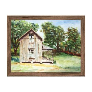 Pintura rústica de la acuarela de la granja vieja lienzo envuelto para galerías