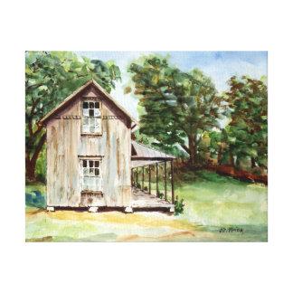 Pintura rústica de la acuarela de la granja vieja impresión en lona estirada