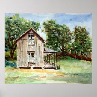 Pintura rústica de la acuarela de la granja vieja póster