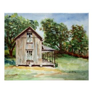 Pintura rústica de la acuarela de la granja vieja perfect poster
