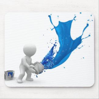 Pintura salpicada azul tapetes de ratón