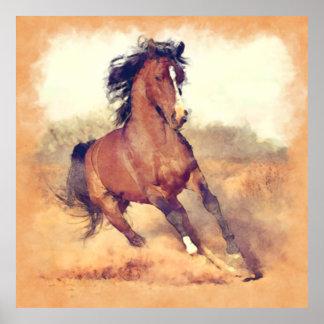 Pintura salvaje de la acuarela del caballo del póster