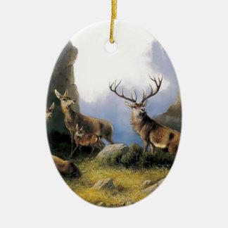 Pintura salvaje de los anomals de la naturaleza de adorno navideño ovalado de cerámica