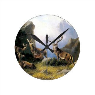 Pintura salvaje de los anomals de la naturaleza de reloj redondo mediano