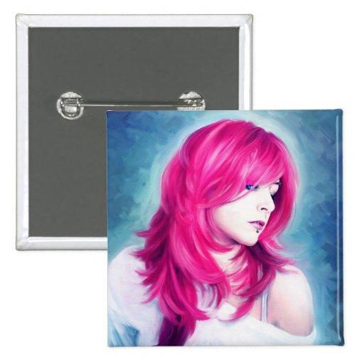 Pintura sensual principal rosada del retrato del a pin cuadrada 5 cm