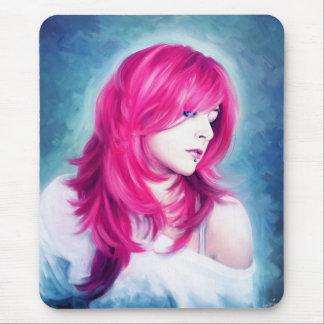 Pintura sensual principal rosada del retrato del alfombrilla de ratones