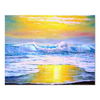"""Pintura soleada del paisaje marino por Mazz Invitación 4.25"""" X 5.5"""""""
