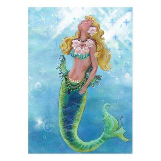 Pintura soñadora de la sirena tarjetas de visita