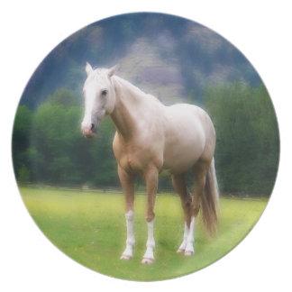 Pintura soñadora del caballo del Palomino Plato De Comida