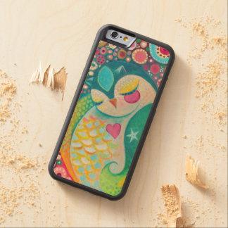 Pintura soñolienta del búho - caja de madera del funda de iPhone 6 bumper arce