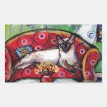 Pintura sonriente del gato de la luna de los rectangular pegatina