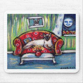 Pintura sonriente del gato de la luna de los senti alfombrilla de ratón