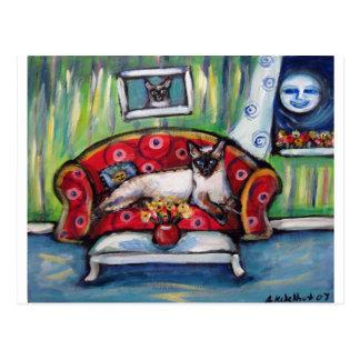 Pintura sonriente del gato de la luna de los tarjetas postales
