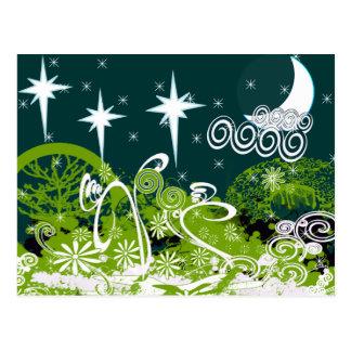Pintura Splat del árbol de la estrella de la luna Tarjeta Postal