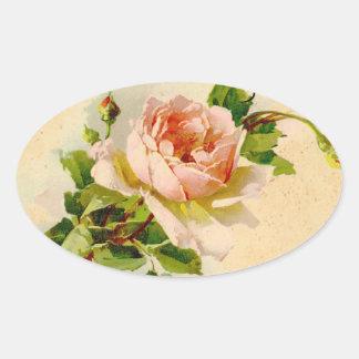 Pintura subió vintage rosado de la acuarela pegatina ovalada