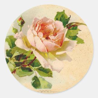 Pintura subió vintage rosado de la acuarela pegatina redonda