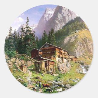 Pintura suiza de la cabaña de madera de las pegatina redonda
