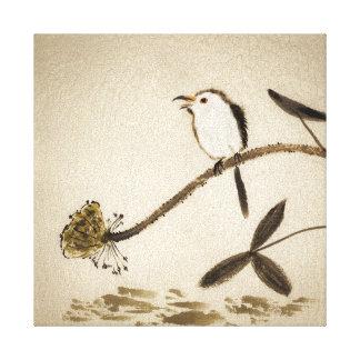 Pintura tradicional china de la tinta con los pája impresión en lienzo