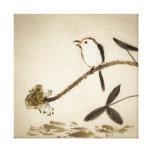 Pintura tradicional china de la tinta con los pája impresión en tela