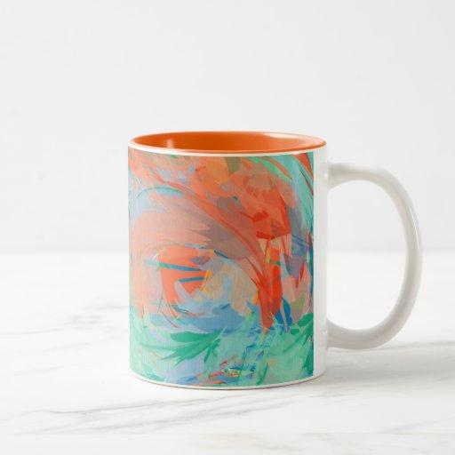 Pintura tropical abstracta tazas de café