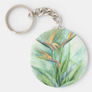Pintura tropical de la ave del paraíso de la flor  llavero redondo tipo pin