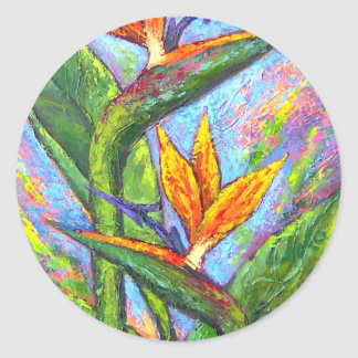 Pintura tropical de la flor de la ave del paraíso pegatina redonda